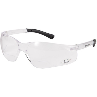 Crews Glasses 135-DC110 Deuce Safety Glass with Smoke Temple Clear Lens Anti-Fog
