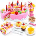 CrazySell 75 PCS Cute Fun Toy Magical Tea Set and Rainbow Cake Pretend Play Food Toy Set for Kids Girls