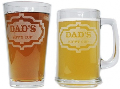 Mommys and Daddys Sippy Cups 15oz Beer Mugs with Handle Orange Kat