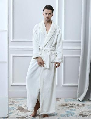 Oksun Mens Dressing Gown Long Robe Plus Size Fleece Winter Warm Soft Bathrobe