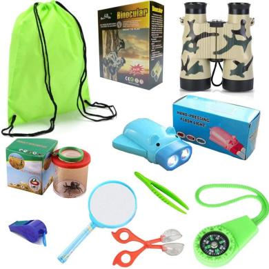 HomDSim 10-in-1 Outdoor Explorer Kit for Kids,Children Adventurer Exploration Equipment Set,Fun Backyard Bug Catching Adventure,Pretend Play,Binoculars,LED Head Light,Compass,Butterfly Net,Container