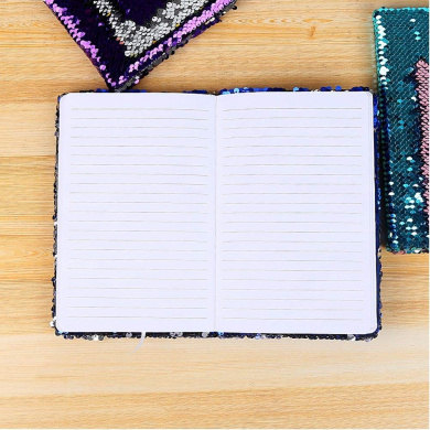 Teal Blue // Pink FIGHTA Reversible Sequin Notebook Magic Sequin Journal Office Notebook for Girls Adults Festival Birthday Valentines Day Gifts