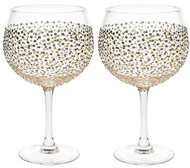 Pair of Large Balloon Glasses Gin and Tonic Teal Blue Silver Dots Sunny By Sue
