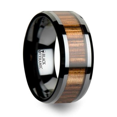 Thorsten SEA Life Shark Predator Fish Sea Print Pattern Ring Flat Black Tungsten Ring 10mm Wide Wedding Band from Roy Rose Jewelry