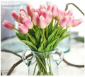 LINSUNG 10pcs Latex Real Touch Tulip Flower with Leaves for Wedding Bouquet Decorate