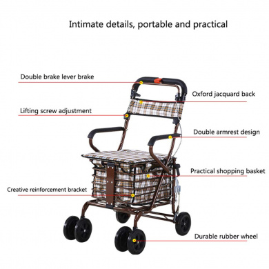 Color : Black ZfgG Folding Shopping Cart with Chair Stool Portable Push Rod Car Aluminum Alloy with Chair Climbing Shopping Cart
