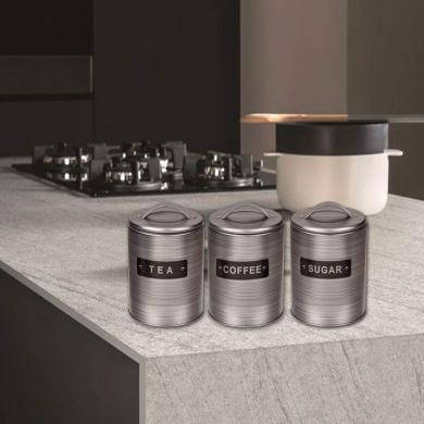 Canister Set Nea Tea Sugar 3pc Jar Tin Container Stainless Steel Storage Cream