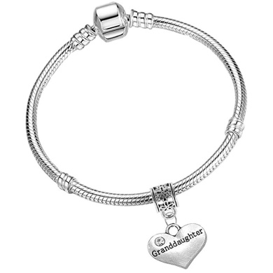 17cm Girls Leather Starter Charm Bracelet with Silver Heart and Gift Box for Age 7-12 Years