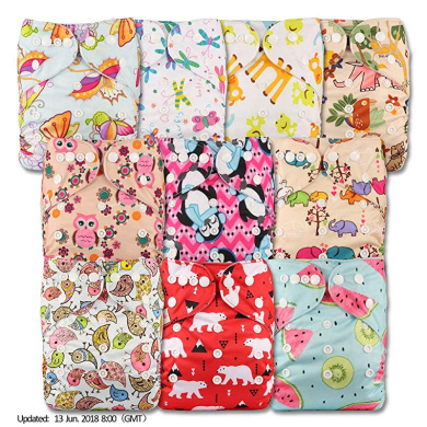 Littles /& Bloomz Set of 10 Patterns 1004 with 10 Bamboo Charcoal Inserts Fastener: Popper Reusable Pocket Cloth Nappy