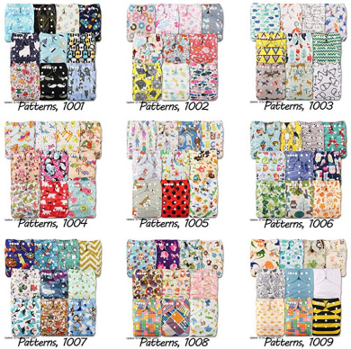Patterns 1001 with 20 Bamboo Inserts Reusable Pocket Cloth Nappy Littles /& Bloomz Set of 10 Fastener: Popper
