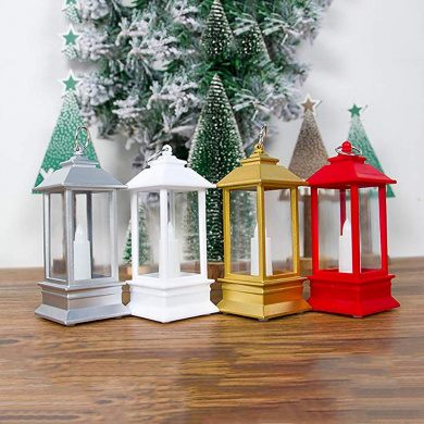 vijTIAN Christmas Decorations Transparent Christmas Portable Lights Candle Holders P erfect For Both House Decoration Or Fixed On Trees Red